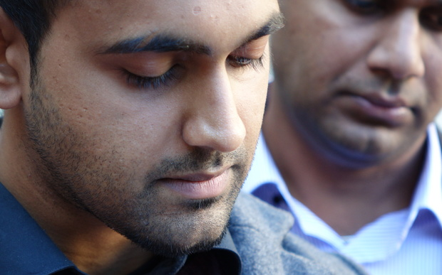 Arun Kumar's son Shivneel Kumar outside the High Court in Auckland after the jury's verdict.
