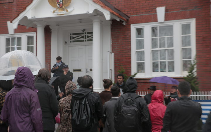 Protestors gathered outside the Indonesian Embassy in Wellington had verbal altercations with embassy staff about West Papua. May 2017