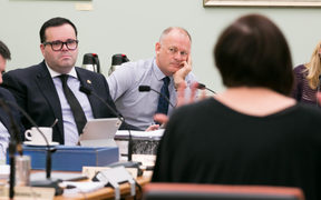 National MPs Paul Foster-Bell (left) and Jono Naylor (right) listen to Jan Logie (foreground) speak to the Justice and Electoral committee on her Domestic Violence-Victim's Protection Bill.