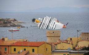 The Costa Concordia in 2012, after it capsized off the coast of the Tuscan island of Giglio.