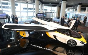 Flying cars are the latest hot thing. This  Aeromobil, a flying supercar was displayed at an exclusive luxury goods expo in Monaco in April 2017.