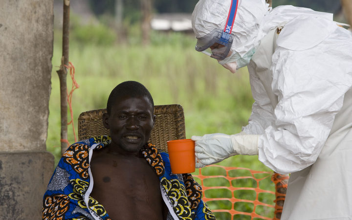 An man is treated for Ebola in The Democratic Republic of Congo