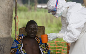 An man is treated for Ebola in The Democratic Republic of Congo.