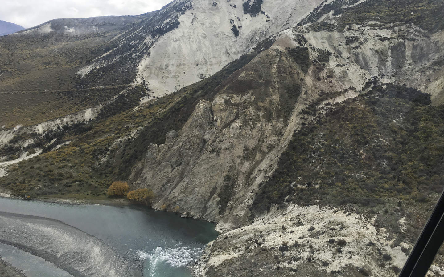 An earthquake slip above the Clarence River that has taken out a significant farm track.