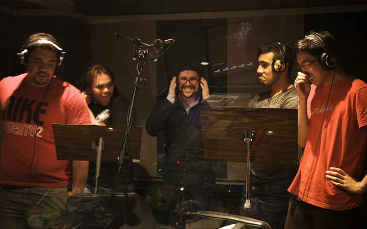 Pene Pati, Grant O'Connor, Dudley Benson, Moses McKay and Jeffrey Chang recording Dudley's a cappella album 'Forest'.