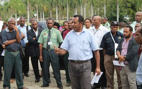 Papua New Guinea parliament staff protest over pay conditions, August 2014.