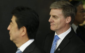 Prime Minister Bill English, right, with Japanese Prime Minster Shinzo Abe.