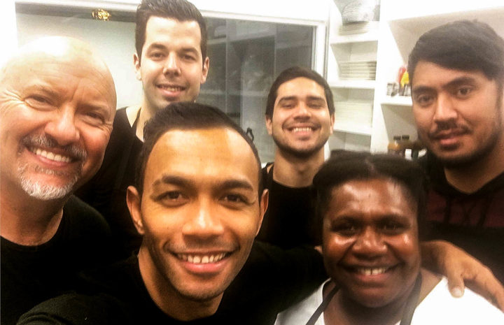 Celebrity chef Robert Oliver (far left) and his talented team at Kai Pasifika.