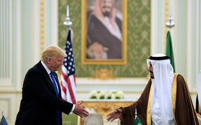 Donald Trump and King Salman bin Abdulaziz al-Saud at a signing ceremony at the Saudi Royal Court in Riyadh.