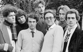 SPLIT ENZ in 1975. In front, Tim Finn, left, Mike Chunn, Wally Wilkinson, and Phil Judd. Back row: Emlyn Crowther, left, Noel Crombie, and Eddie Rayner.