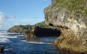 The rocky foreshore of Niue