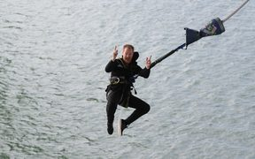 Mike Heard during a bungy jump from the Auckland Harbour Bridge.
