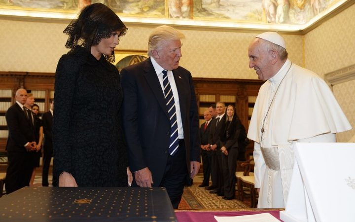 Donald and Melania Trump meet the Pope.