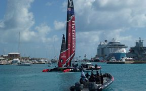 Team New Zealand heads out onto the water ahead of their first race.