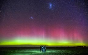 Mark Takerei and his family watch the Aurora Australis near Motukarara, south of Christchurch.