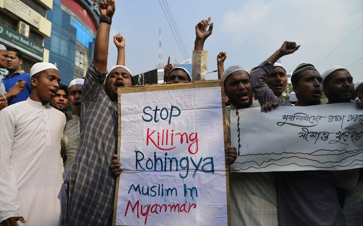 Bangladeshi activists of several Islamic groups shout slogans during a protest rally in November 2016  against the persecution of Rohingya Muslims in Myanmar.