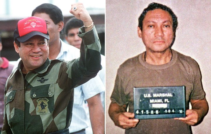 These two file photos show Panamanian General Manuel Noriega taken on 04 October, 1989 in Panama (L) and 04 January, 1990 in Miami (R)