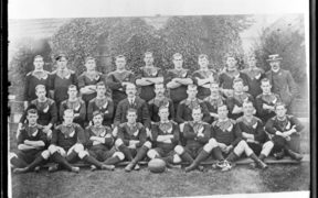 "The All Black rugby team which toured the United Kingdom in 1905-1906 – and who popularised the rugby song ""On the Ball"""