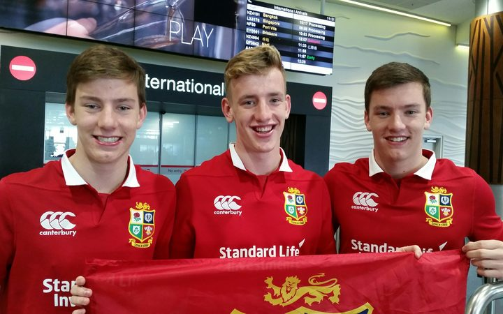 British triplets Charlie, Harry and Louis Banfield,  17 have taken the day off school to see The Lions arrive.