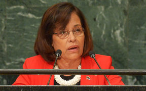 Hilda Heine, President of the Marshall Islands, addresses the 71st session of the United Nations General Assembly at the UN headquarters in New York on September 22, 2016.
