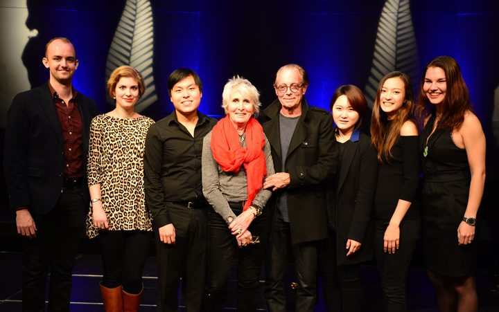Sir Michael and Christine Lady Hill with the six semi finalists