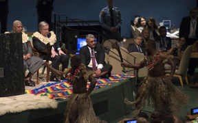 Fiji's Prime Minister Frank Bainmarama and United Nations Secretary General António Guterres take part in the Fijian Traditional Welcome Kava Ceremony to open the Ocean Conference June 5, 2017 at the United Nations in New York.
