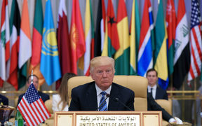 US President Donald Trump is seated during the Arab Islamic American Summit at the King Abdulaziz Conference Center in Riyadh on May 21, 2017.