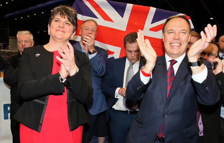 Democratic Unionist Party (DUP) deputy leader Nigel Dodds, at right,  and leader Arlene Foster. celebrate Dodds winning his Belfast North seat.
