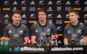 Beauden Barrett (left) and his brothers Scott (centre) and Jordie (right) who are all part of the All Blacks team to face off against the British and Irish Lions.