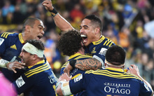 The Highlanders after beating the Hurricanes in the Super 15 final.