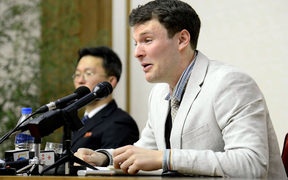 An image released by North Korea's official news agency of US student Otto Warmbier at a media conference in Pyongyang in February 2016.