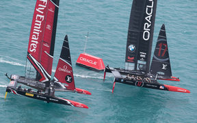 Emirates Team New Zealand and Oracle Team USA racing during the Louis Vuitton America's Cup Qualifiers at the 35th America's Cup, Bermuda, 2017.