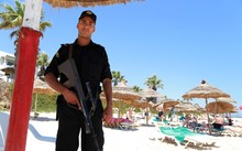 Security guard on a beach in Sousse, Tunisia
