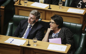 Budget Day 2017. Prime Minister Bill English and Deputy Prime Minister Paula Bennett in The House on Budget Day 2017.