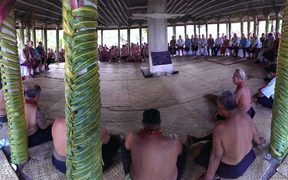 John Key welcomed with an 'ava ceremony in the village of Poutasi, Upolu island, Samoa.