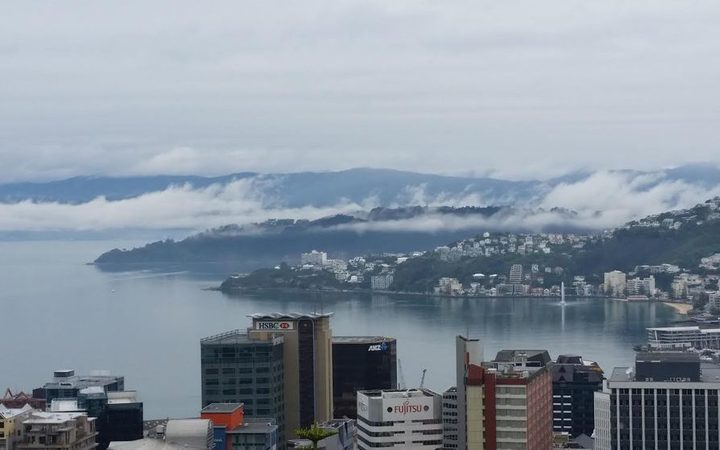 All the moisture from recent rainfall in Wellington left some eerie low cloud over the harbour.