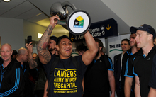 Malakai Fekitoa arrives at Dunedin airport after Highlanders win