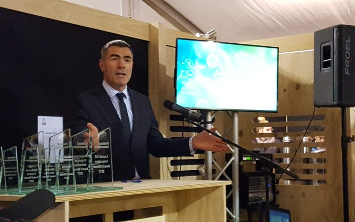 Nathan Guy announcing the innovation awards at the National Fieldays.