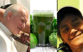 combination picture of Pope, smoothie and Jo Whiu