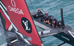 Peter Burling at the helm as Team New Zealand race to victory over Artemis. America's Cup Bermuda 2017 - Louis Vuitton America's Cup Challenger Playoffs final, Day 3/