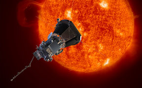 Artist's concept of the Parker Solar Probe spacecraft approaching the sun. Launching in 2018,