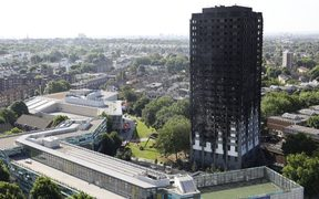 The remains of Grenfell Tower, a residential tower block in west London.