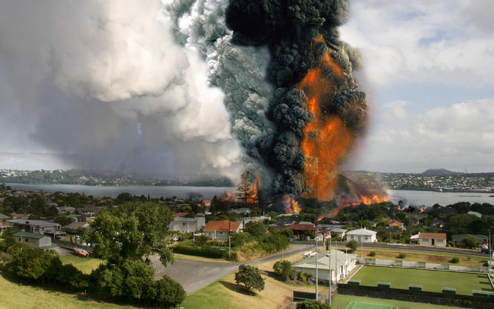 An image of a fictitious volcanic eruption in Auckland, produced as part of Exercise Ruamoko in 2008.