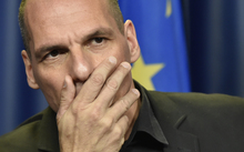 Greek Finance Minister Yanis Varoufakis at a press conference during a Eurogroup meeting at EU headquarters in Brussels in June 2015.