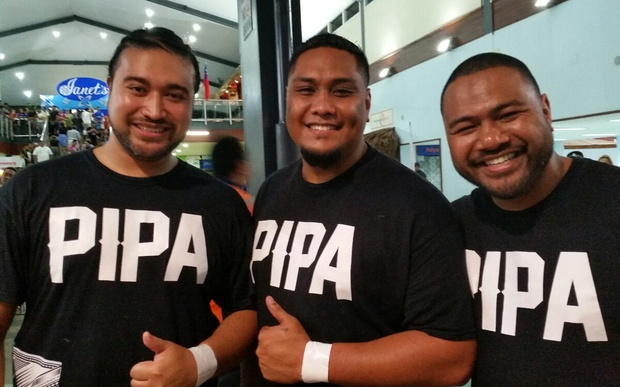 Pacific Institute of Performing Arts students Troy, Mils and Tavai (from left) prepare to welcome the All Blacks with a combined New Zealand/Samoan haka.