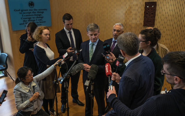 Prime Minister of New Zealand, the Right Honourable Bill English during a stand up with media, after a walk through of a drug rehabilitation centre in Te Atatu today.
