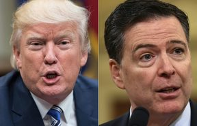 US President Donald Trump and former FBI director James Comey.