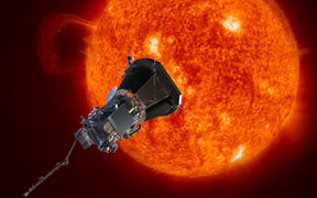 Artist's concept of the Parker Solar Probe spacecraft approaching the sun