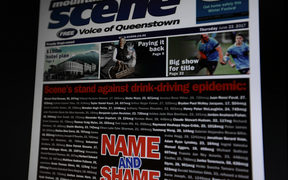 Front page of Queenstown Moutain Scene with Name and Shame campaign.