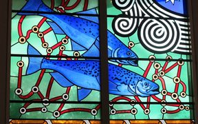 Stained glass designed by Nigel Brown